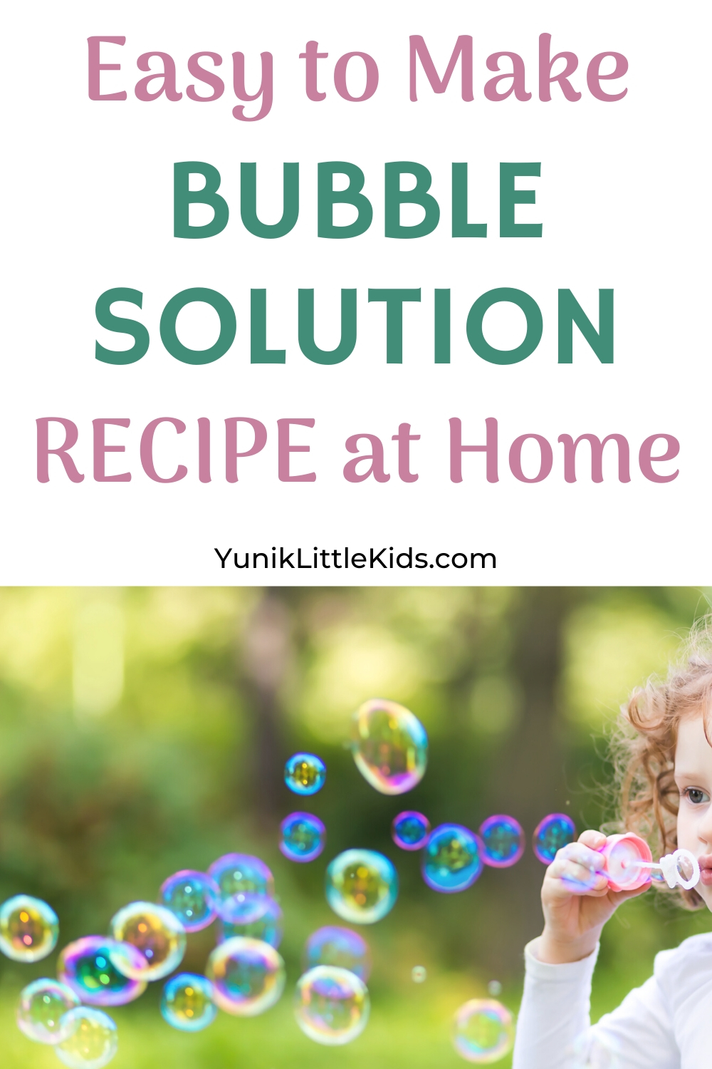 A kid blowing bubbles with homemade bubble solution